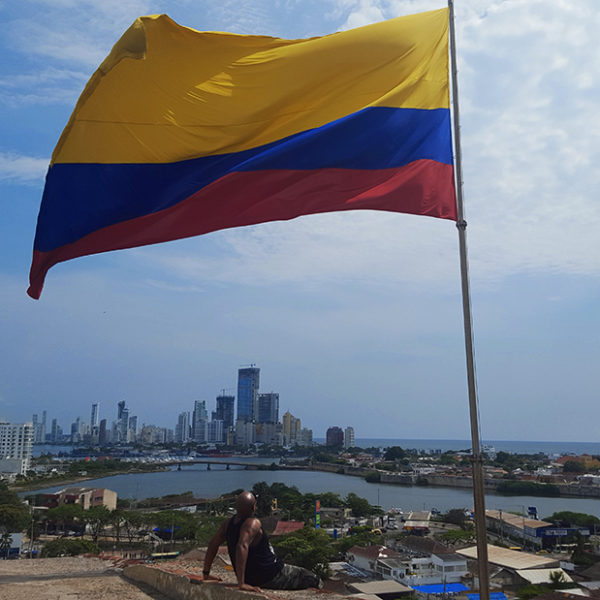 Admiring the beautiful Cartagena Colombia skyline.