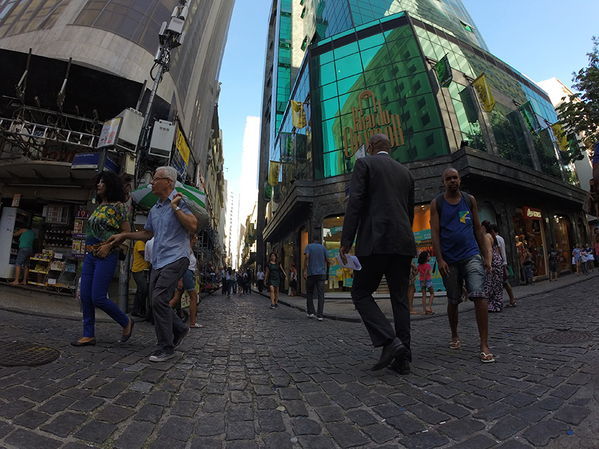 Streets of downtown Rio during the day.