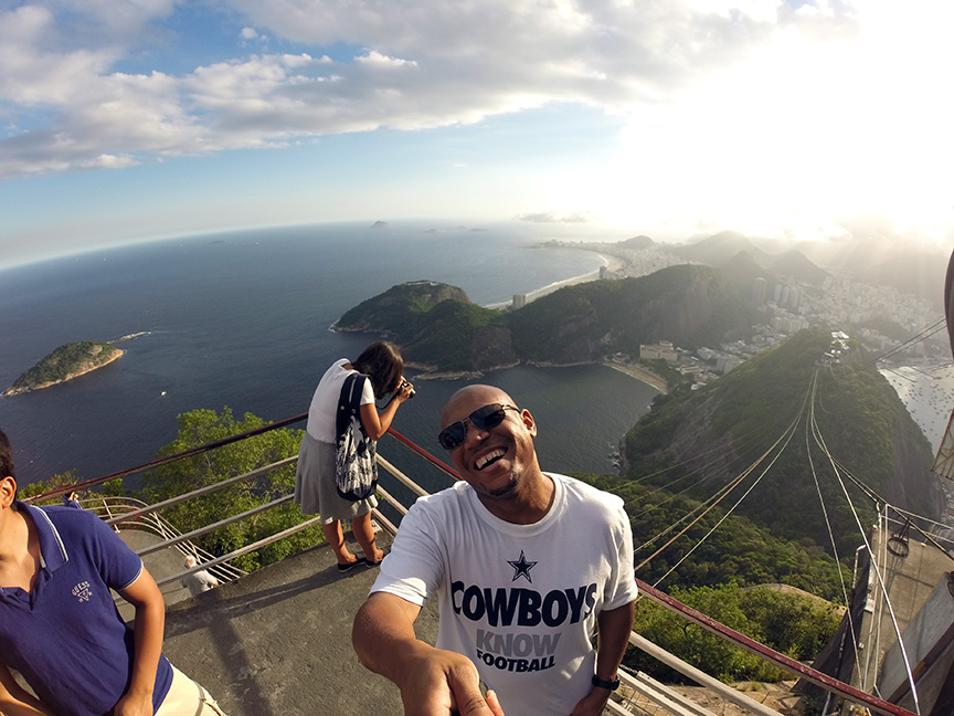 Atop Sugarloaf Mountain! You can see Ipanema Beach in the far background
